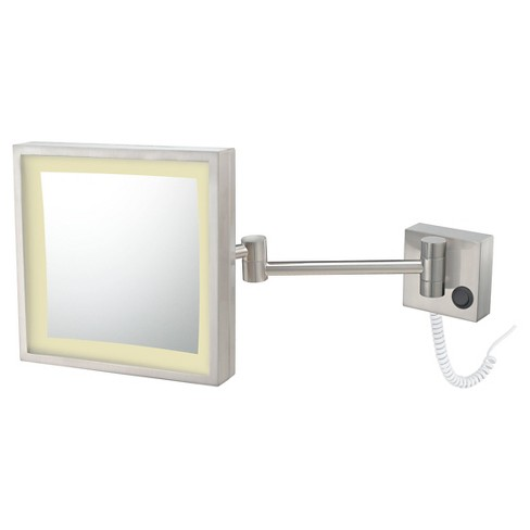 Square Single Sided Led Lighted Wall Magnified Makeup Bathroom