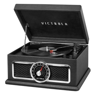 Victrola The Plaza 4-in-1 Nostalgic Bluetooth Record Player with 3-Speed Turntable and FM Radio (Black)