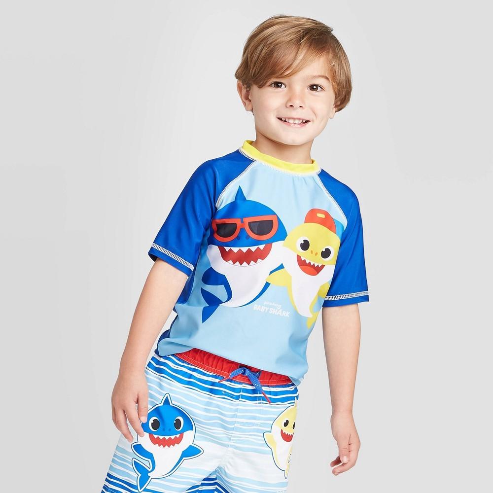 Image of Toddler Boys' Baby Shark Rash guard - Blue 2T, Infant Boy's, MultiColored