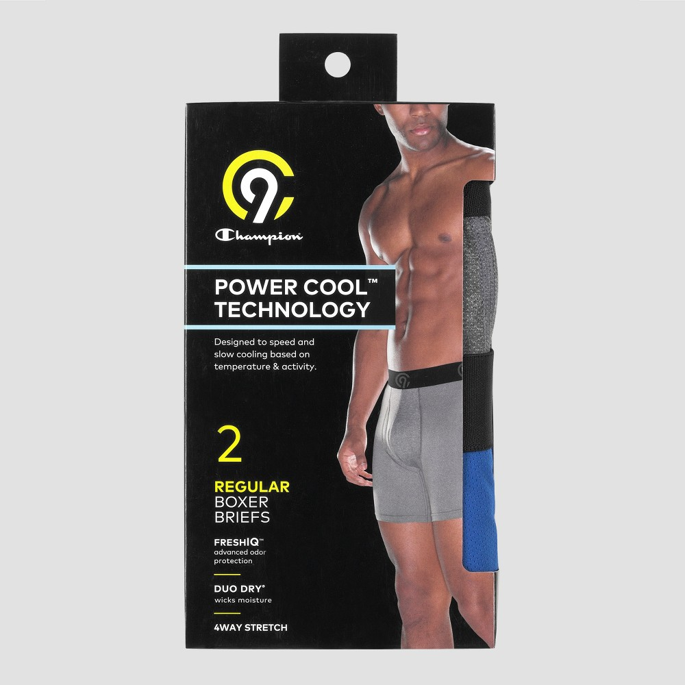 Men's Powercool Stretch 2pk Boxer Briefs - C9 Champion Gray/Blue, Size: Large