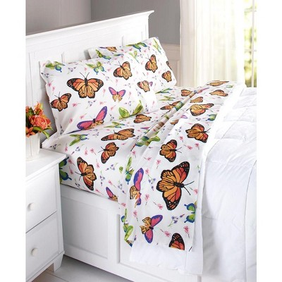 Lakeside Butterfly Sheet Set with Spring Floral Print - Colorful Bedding