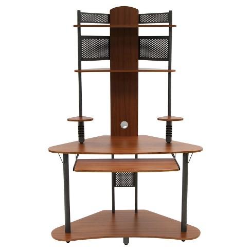 Hutch Pewter Teak Calico Designs, Corner Tower Computer Desk