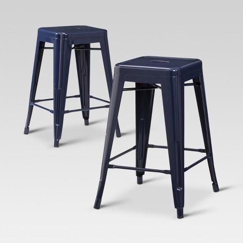 Groovy Carlisle Metal 24 Counter Stool Navy Set Of 2 Threshold Creativecarmelina Interior Chair Design Creativecarmelinacom