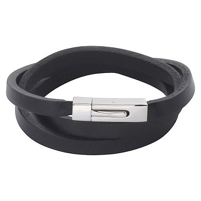 Men's Crucible Stainless Steel Black Leather Wrap Bracelet
