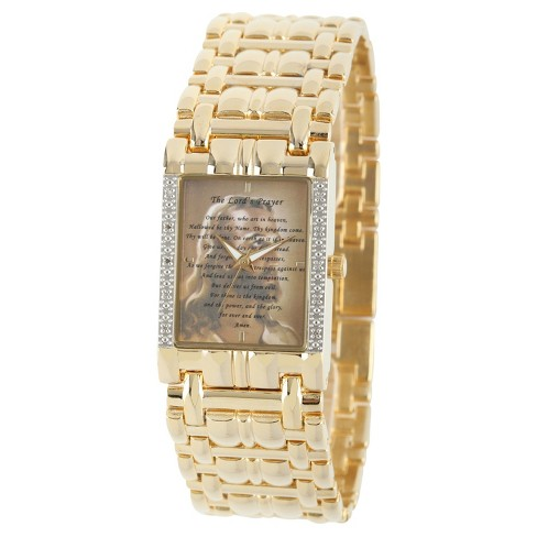 273b0d743 Men's EWatchfactory Our Father/Jesus Watch - Gold : Target