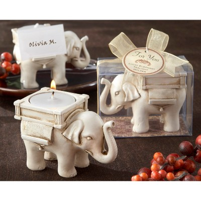 12ct Lucky Elephant Tea Light Holder White - Kate Aspen