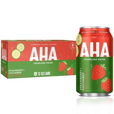 AHA Strawberry + Cucumber Sparkling Water - 8pk/12 fl oz Cans