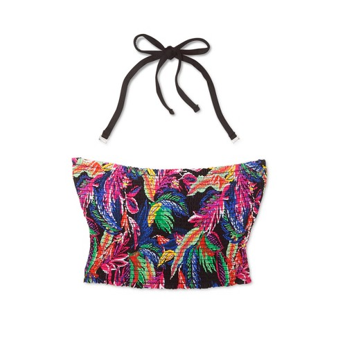20481dacc81 Women's Smocked Bandeau Bikini Top - Shade & Shore™ Black Tropical. Shop  all Shade & Shore