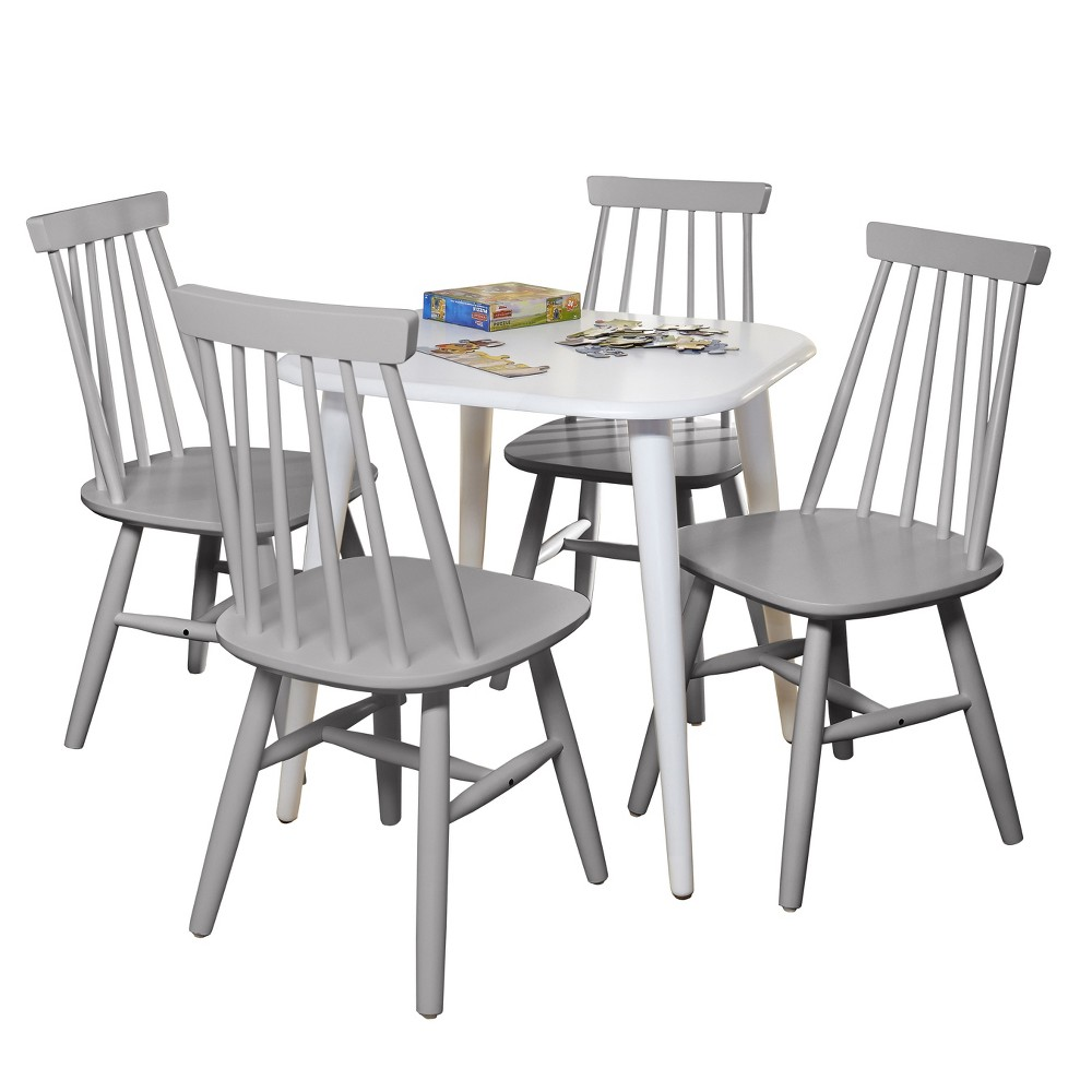 5pc Zoey Kids Table and Chair Set - White/Gray - Buylateral