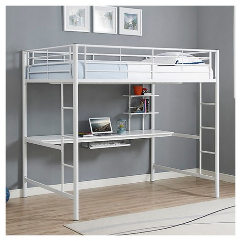 Premium Metal Full Size Loft Bed With Wood Workstation White
