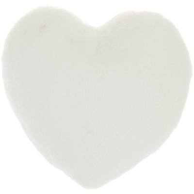 Rabbit Faux Fur Heart Throw Pillow - Mina Victory