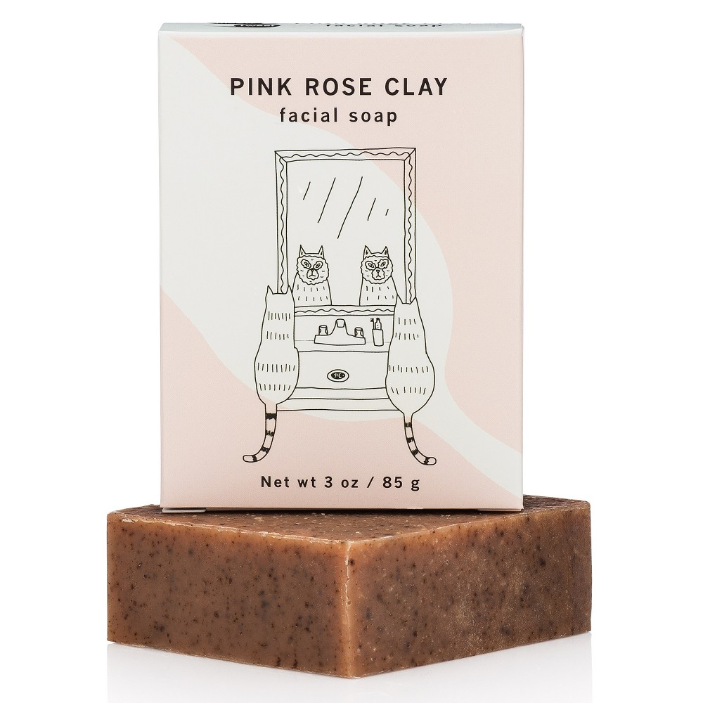 Image of Meow Meow Tweet Pink Rose Clay Facial Soap - 2.5oz