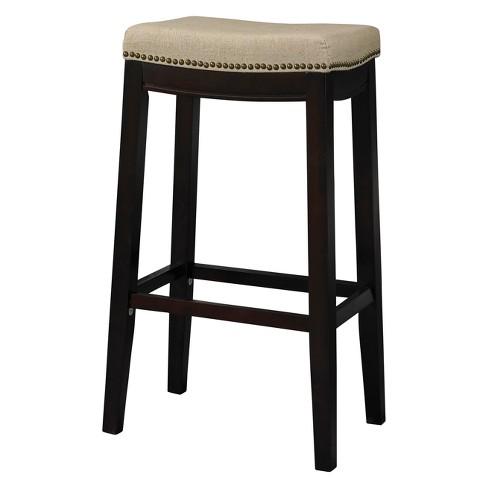 Nail Head Backless Bar Stool Upholstered Seat Beige Walnut Linon