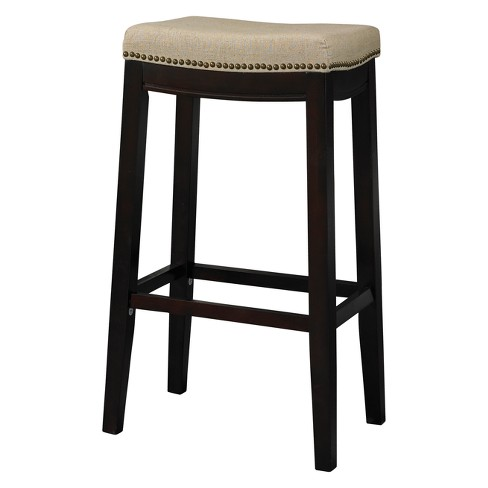 Nail Head Backless Bar Stool Upholstered Seat Beige Walnut Linon