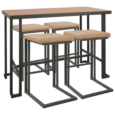 5pc Lumisource Roman Industrial Counter Height Dining Set Gray/Camel