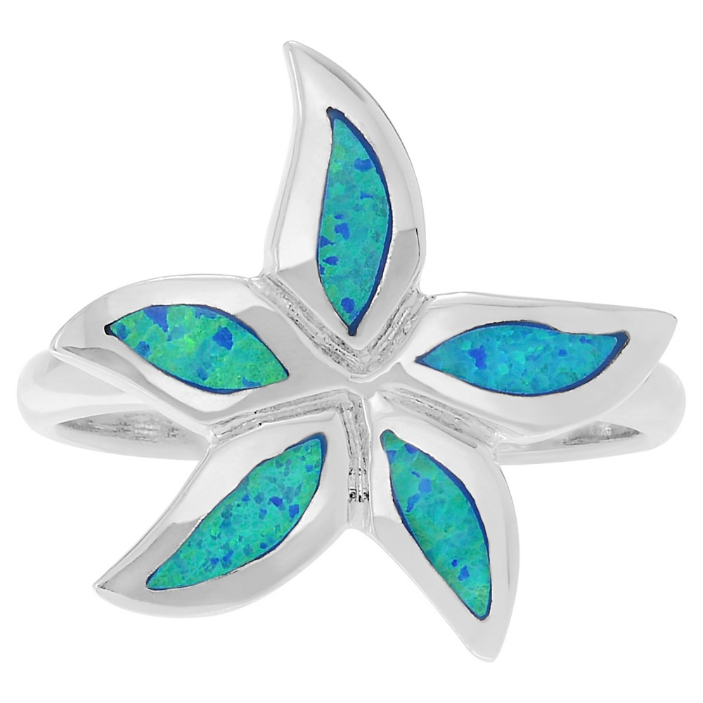 1/5 CT. T.W. Marquise-cut Simulated Opal Flower Inlaid Set Ring in Sterling Silver - Blue, 9, Girl's