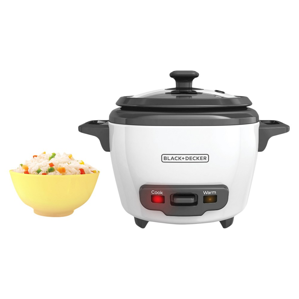 Image of BLACK+DECKER 3 Cup Electric Rice Cooker - White RC503, Black White