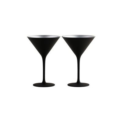 8oz 2pk Crystal Olympia Martini Glasses Black/Silver - Stoelzle