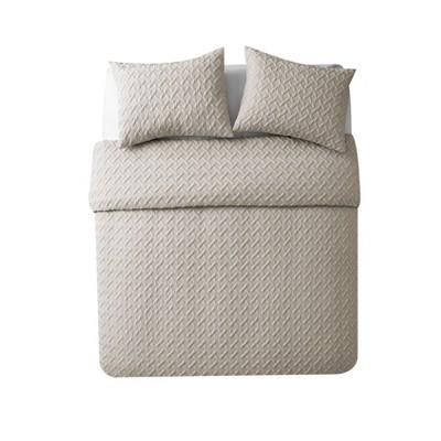 Full/Queen Nina Ii Embossed Comforter Set Taupe - VCNY Home