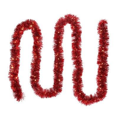 Mr. Christmas LED Lit Tinsel Garland - Red 12'