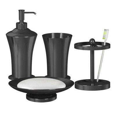 4pc Midnight Metal Bath Accessory Set for Vanity Counter Tops Black - Nu Steel