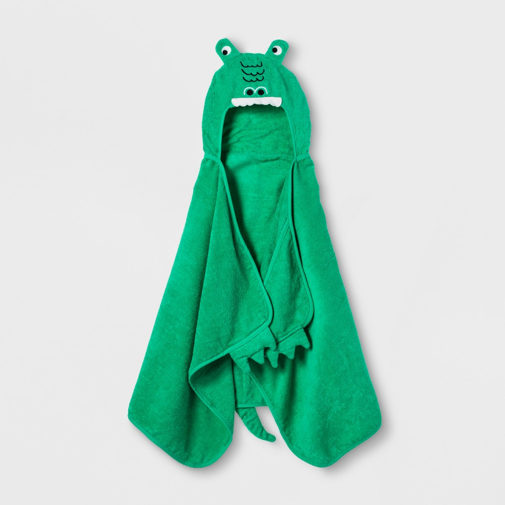 Image of Alligator Hooded Bath Towel Mangrove Green - Pillowfort
