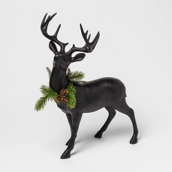 "19.6"" x 7.4"" Resin Standing Deer Figurine with Wreath Black - Threshold™"