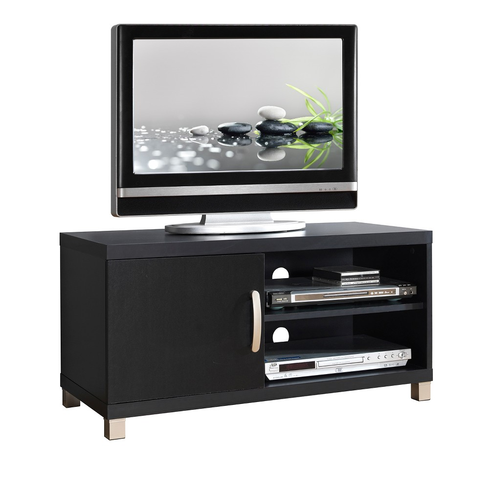 TV Stand Black 40  - Techni Mobili This contemporary Techni Mobili TV cabinet , for TVs up to 40 , is designed to fit any bedroom or family room. It includes one cabinet and additional shelf for optimal storage. The Techni Mobili TV cabinet is made of heavy duty compressed wood and laminate surface that is resistant to scratches. TV stand features additional storage space for your electronics and gaming accessories. Color: Black.