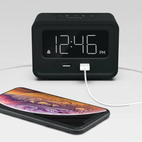 Clock with Double USB Charger Black - Capello - image 1 of 2