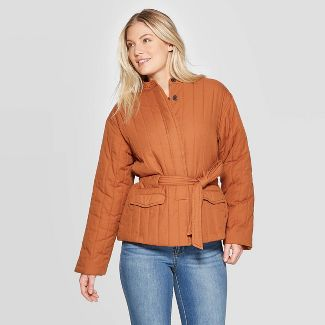 Women's Long Sleeve with Self Belt Quilted Jacket - Universal Thread™ Gold M