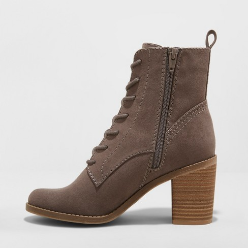 354efd2aa9a Women s Persia Microsuede Lace Up Heeled Fashion Bootie - Universal Thread™