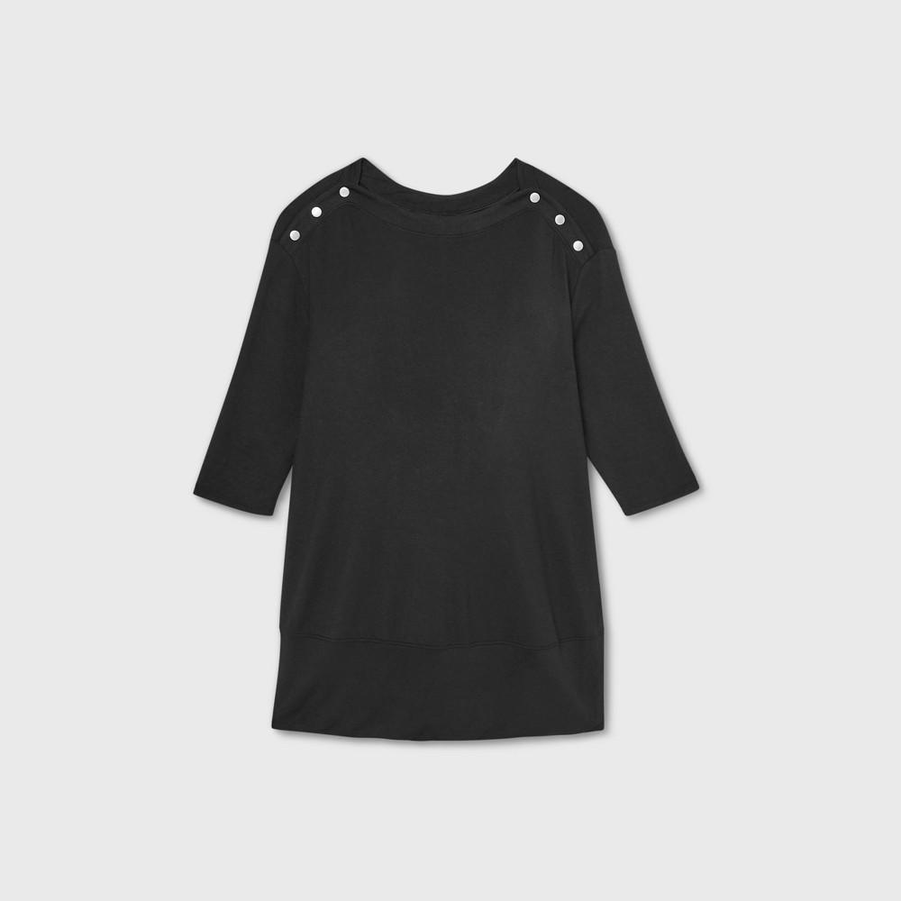 Maternity 3 4 Sleeve Snap Shoulder Sweatshirt Isabel Maternity By Ingrid 38 Isabel 8482 Black M