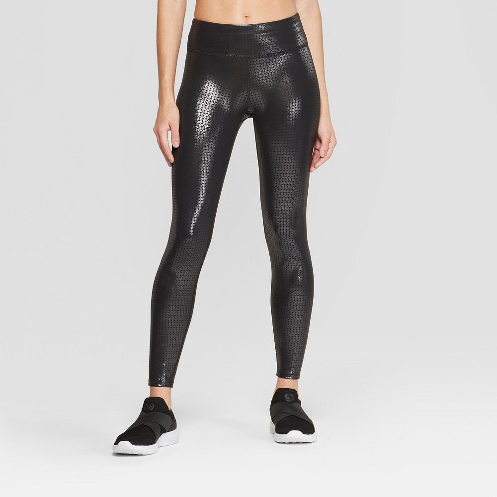 Women's Performance Sequin Mid-Rise 7/8 Leggings - JoyLab Black M