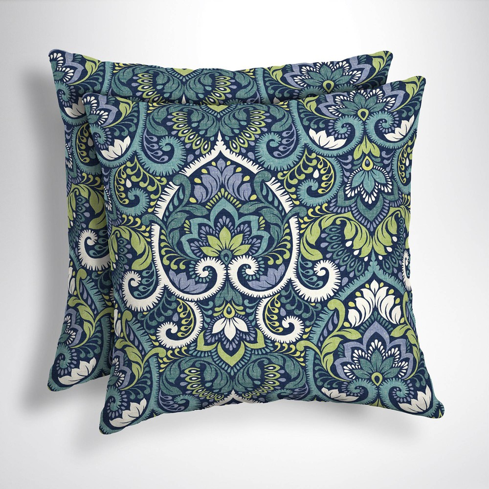 Image of 2pk Aurora Damask Square Outdoor Throw Pillows Sapphire (Blue) - Arden Selections