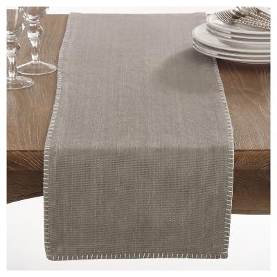 "13""x72"" Celena Whip Stitched Design Table Runner Gray - Saro Lifestyle"