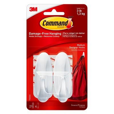 Command™ Medium Designer Hooks, 2/pk