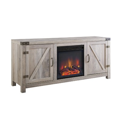"""58"""" Modern Rustic Barn Door TV Storage Console with Electric Fireplace Gray Wash - Saracina Home"""
