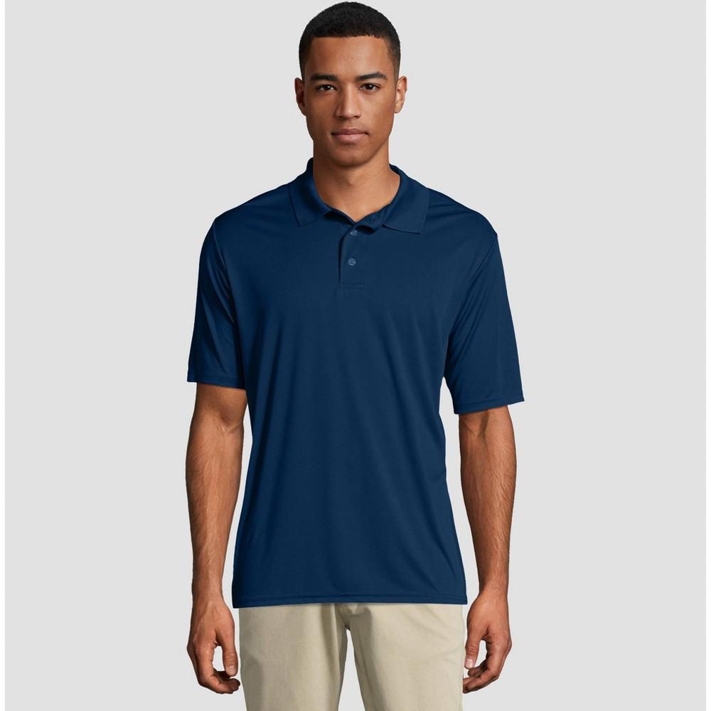 Hanes Men 39 S Cool Dri Pique Polo Short Sleeve Shirt Navy L
