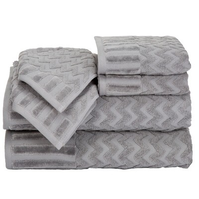 Chevron Bath Towels And Washcloths 6pc Gray - Yorkshire Home