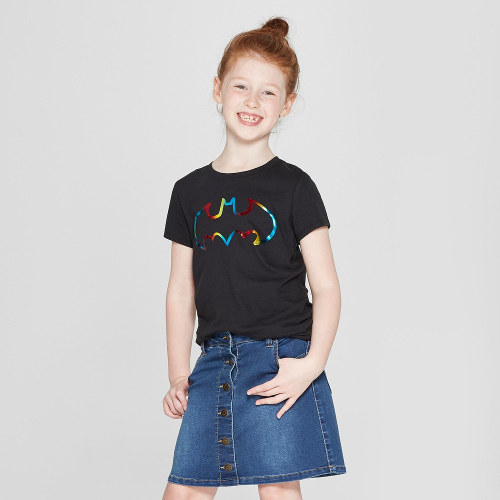 Girls' DC Comics Batman Rainbow Shield Short Sleeve T-Shirt - Black L