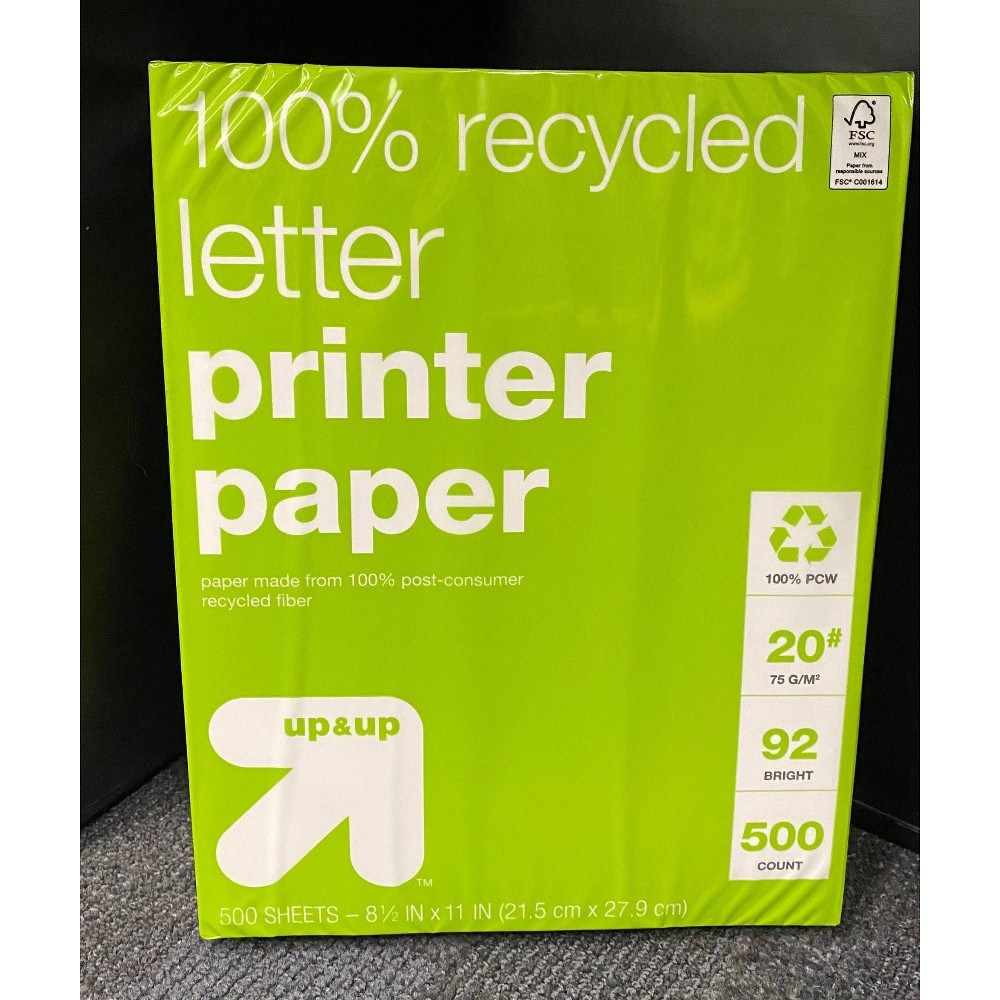 """Image of """"500ct 8.5"""""""" x 11"""""""" 100% Recycled Printer Paper - Up&Up"""""""