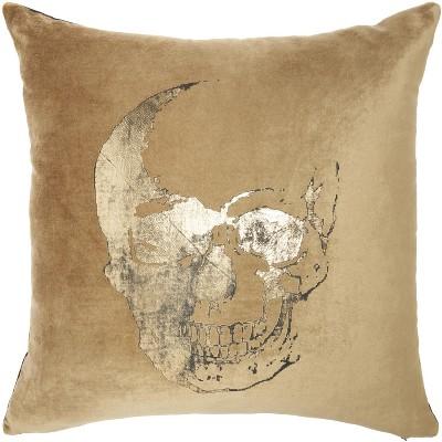 "Mina Victory Luminecence Metallic Skull Beige/Gold Pillow - 20""X20"""