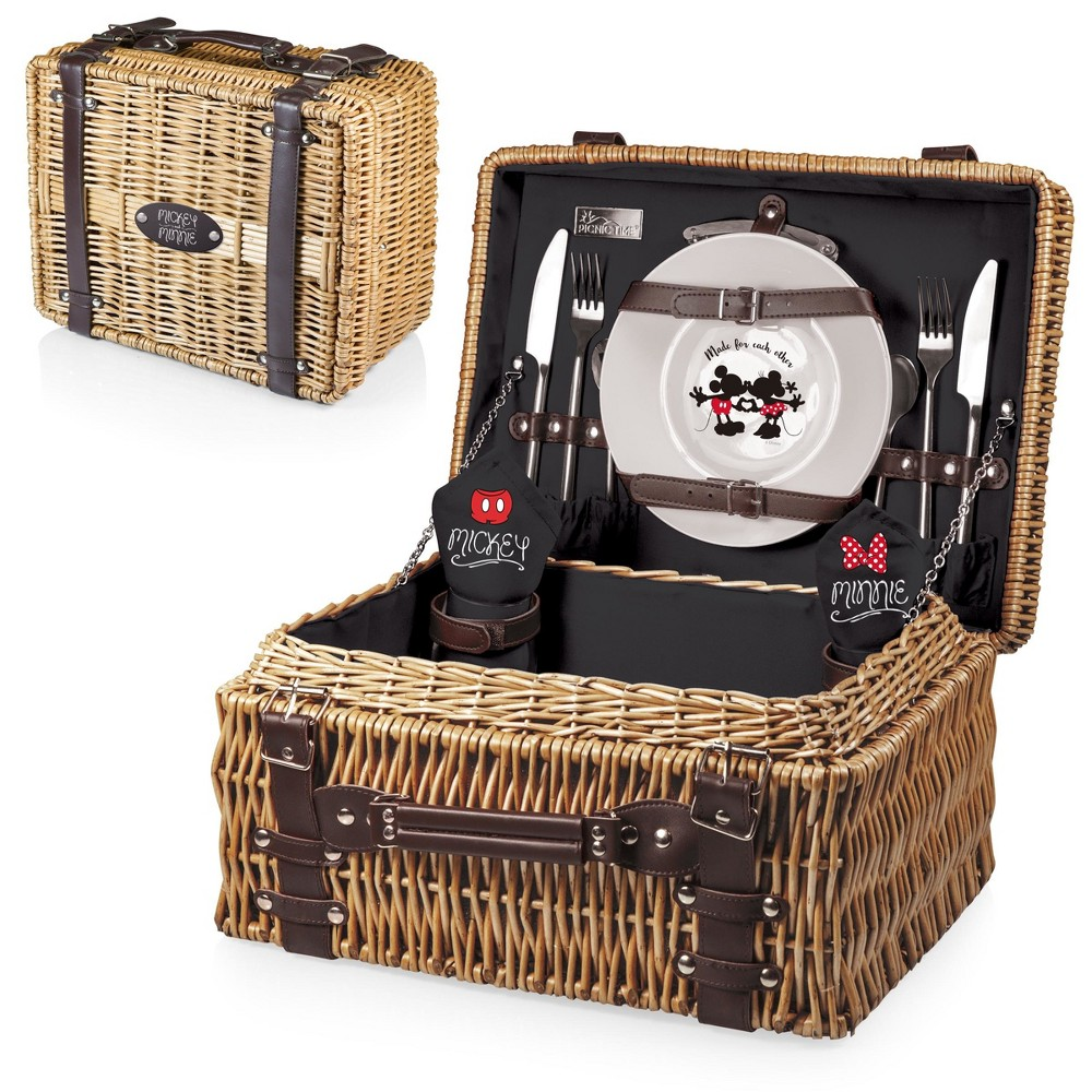 Image of Disney Mickey & Minnie Mouse Champion Picnic Basket by Picnic Time - Black