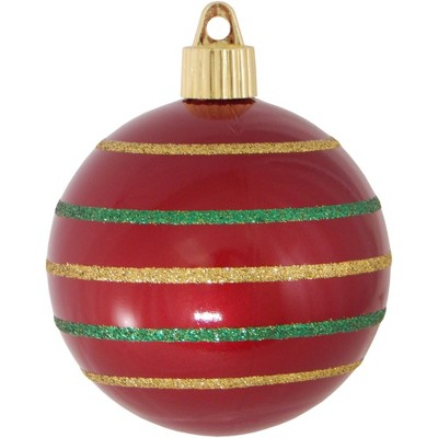 "Christmas by Krebs 4ct Candy Red and Gold Striped Shatterproof Shiny Christmas Ball Ornaments 3.25"" (80mm)"