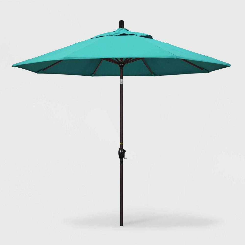 Image of 9' Pacific Trail Patio Umbrella Push Button Tilt Crank Lift - Sunbrella Aruba - California Umbrella