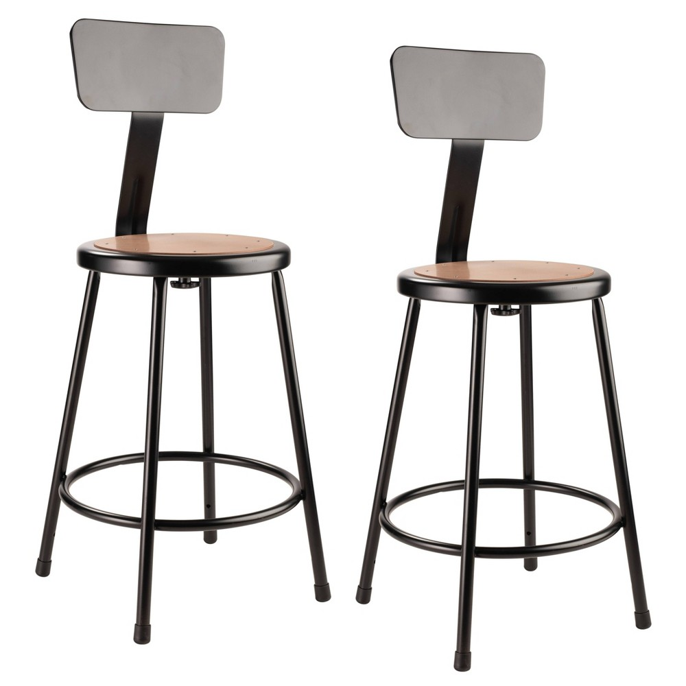 2pk 24 34 Heavy Duty Steel Counter Height Barstools With Backrest Black Hampton Collection