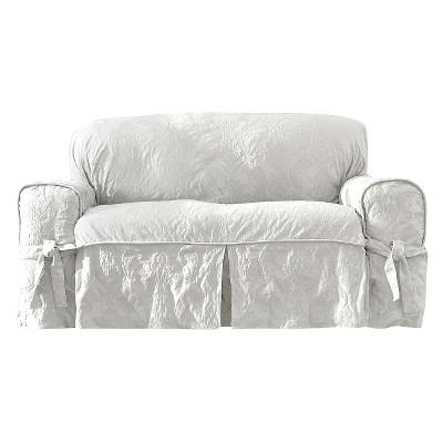 Matelasse Damask Slipcover White - Sure Fit