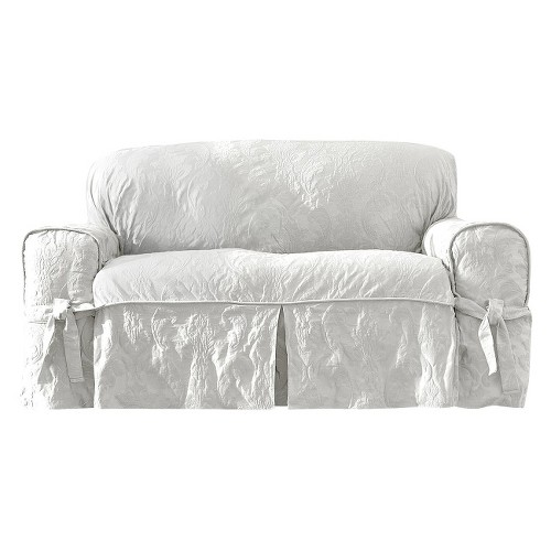 Matelasse Damask Loveseat Slipcover White - Sure Fit