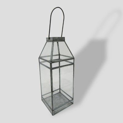 16  Square Galvanized Glass Outdoor Lantern - Threshold™