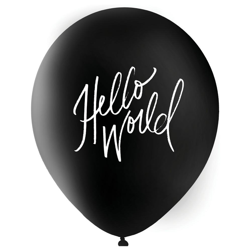 "Image of """"""Hello World"""" Designer Balloons Black"""